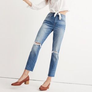 Madewell High-Rise Slim Boyjean: Knee-rip edition